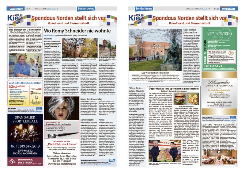 Spandauer Volksblatt Sonderthema Haselhorst Siemensstadt 2018 KW 47