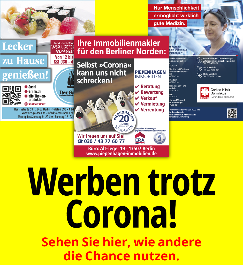 Werben Trotz Corona im Spandauer Volksblatt und in der Berliner Woche